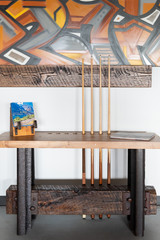 Historic rail hardwood base with boxcar top pool cue side table