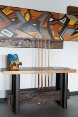 Handcrafted eco-friendly steel wooden pool cue side table