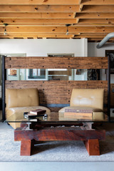 mountain living coffee table with hardwood cherry and steel rails