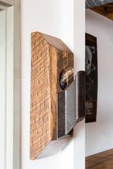Oak steel Edison bulb 3-way switch wall sconce