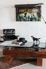 Urban loft artisan glass wood railroad coffee table