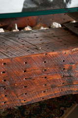 Mountain living distressed hardwood granite coffee table