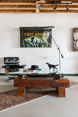 Rustic southwestern cherry steel glass top coffee table