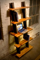 reclaimed factory shelves from historical architectural artifacts