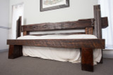 wide footboard bed seat distressed timber steel headboard bed
