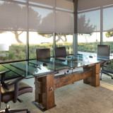 luxury executive board room conference table from reclaimed woods and salvaged steel