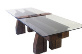timber feet steel rail glass top executive board room conference table