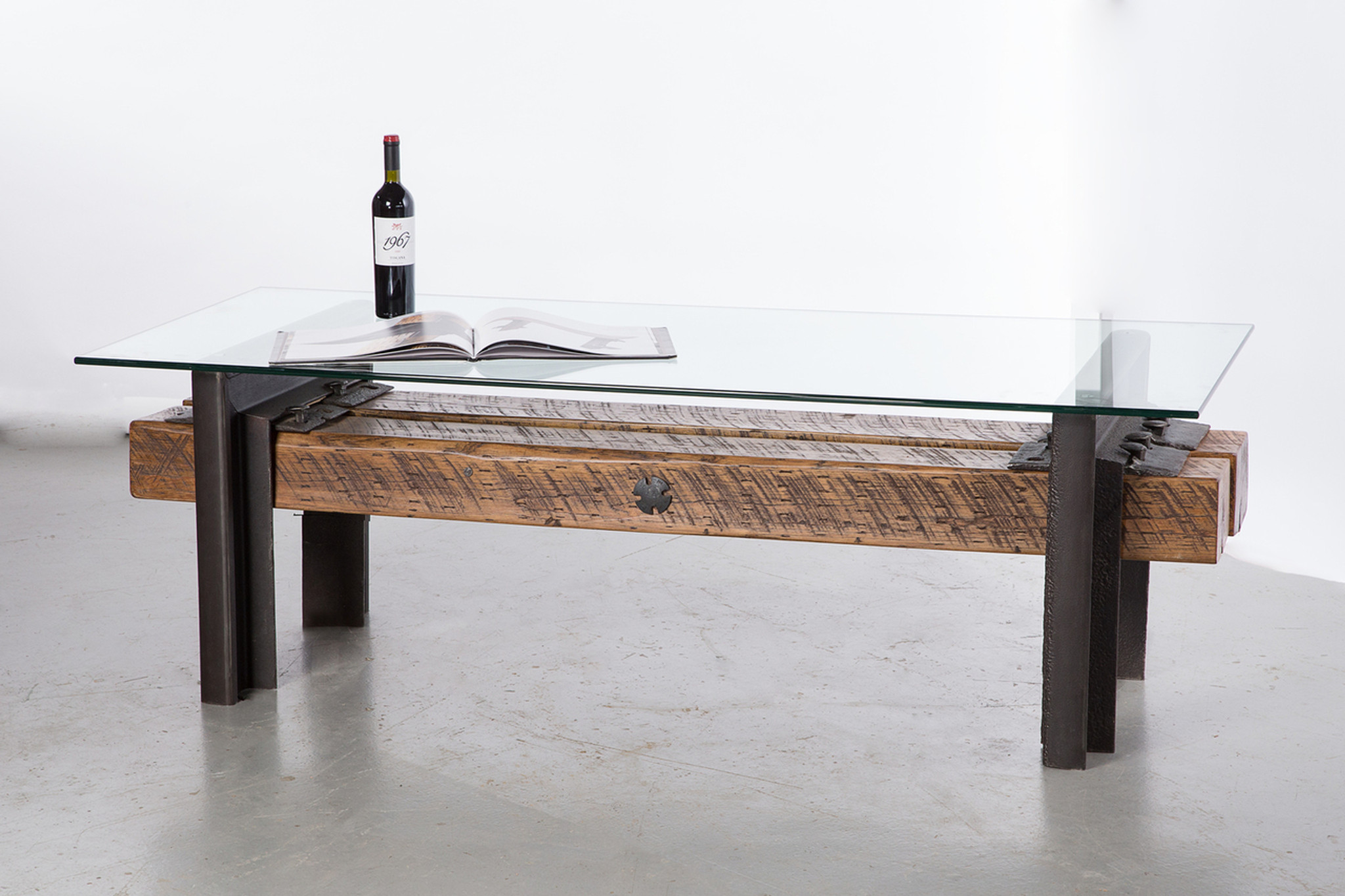 oversized coffee table timber reclaimed salvaged steel accents