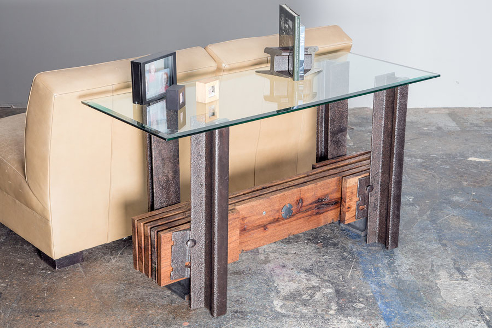 credenza console table for renovated industrial loft spaces with aged steel