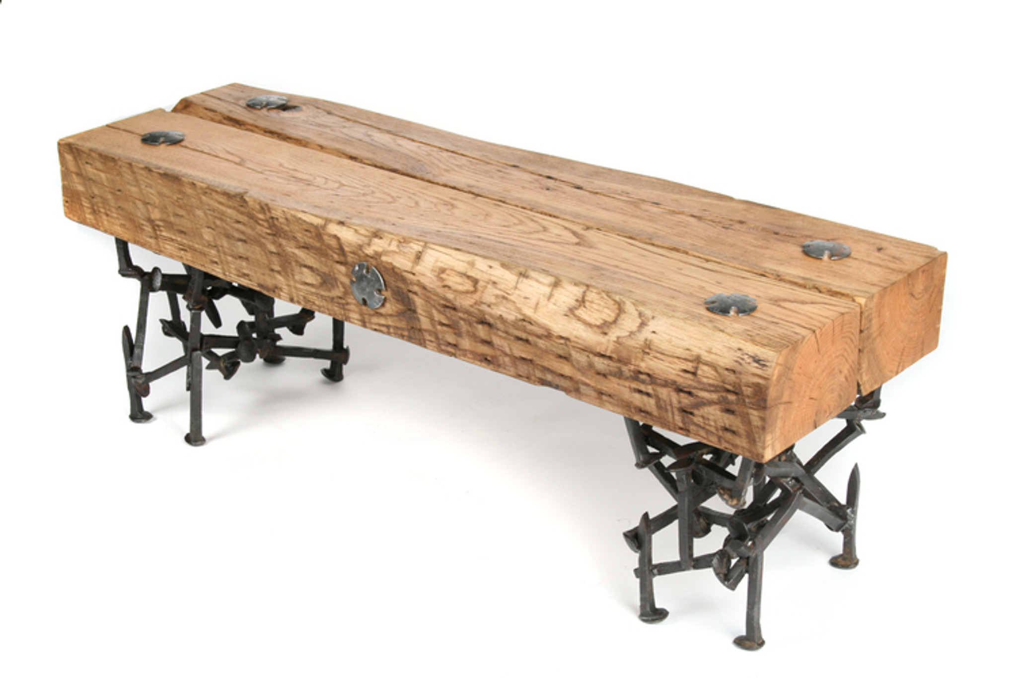 refined rustic bench with timber seat iron legs from salvage scrap metal