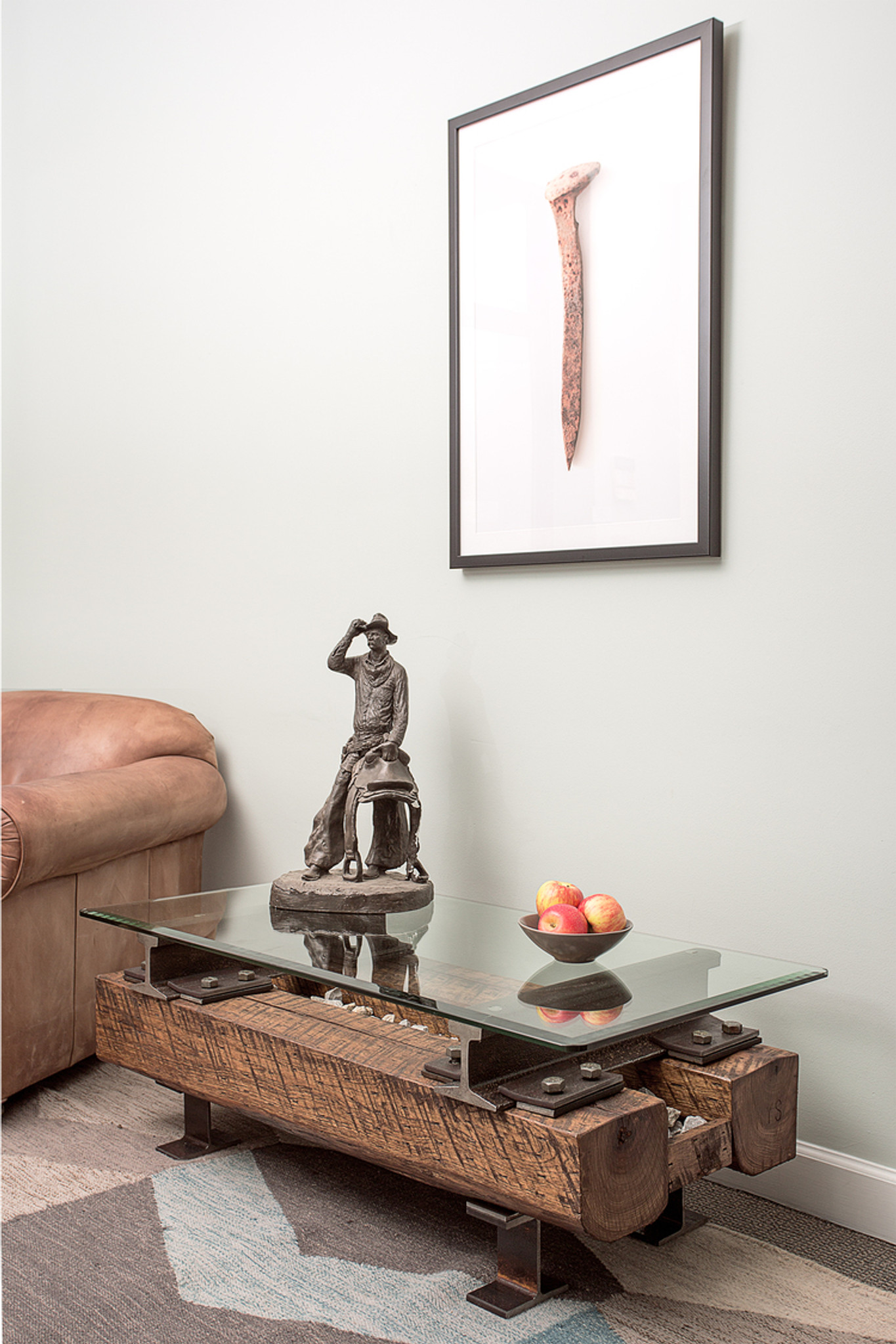 iconic western style coffee table from preserved wood and metal for waiting area lobby
