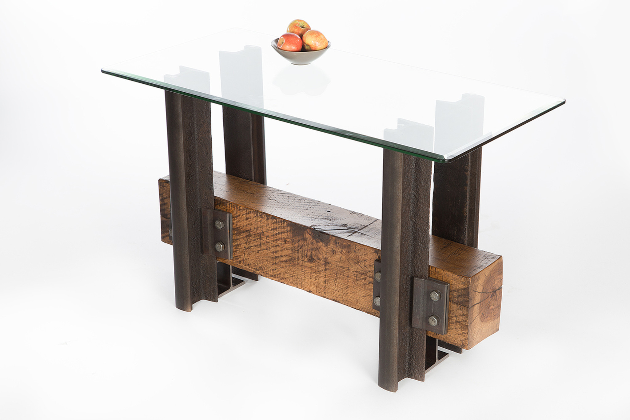 narrow entryway hall table with sustainably sourced wood base and steel legs