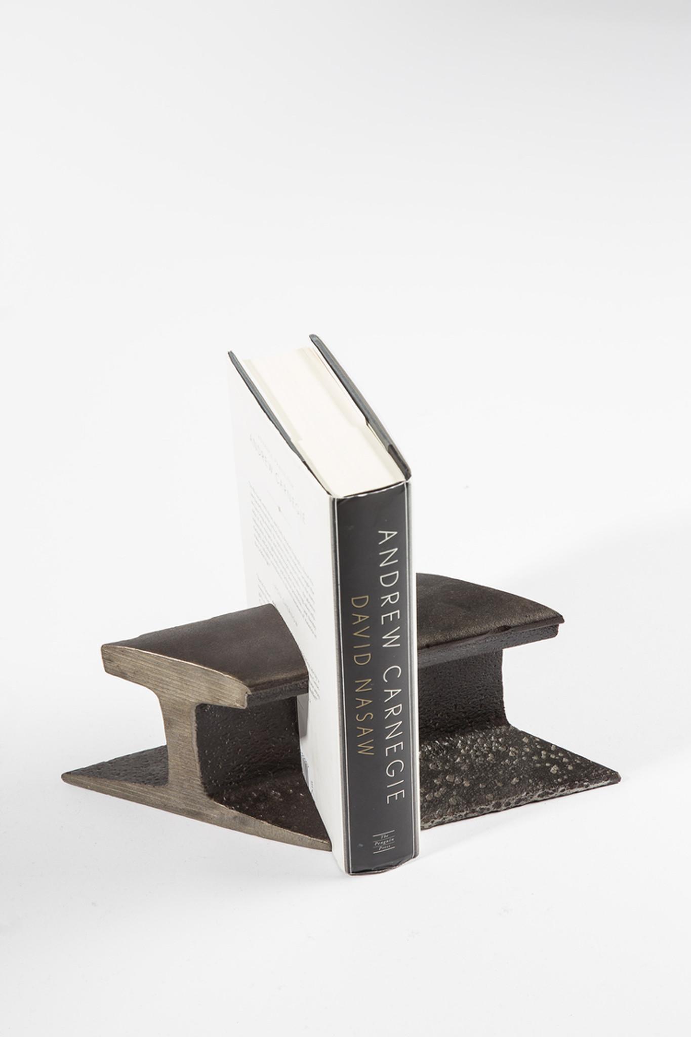 modern industrial steel book ends