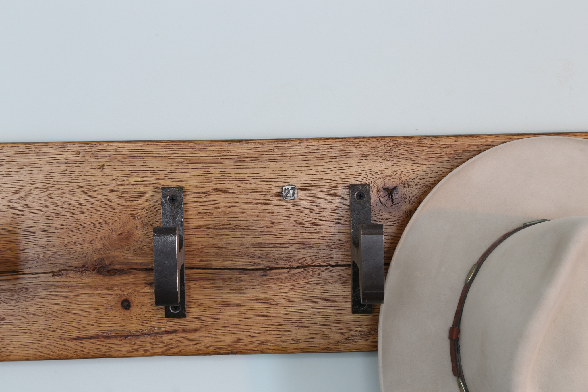 woodgrained hat rack solid hardwood steel coat hooks for lobby or entry