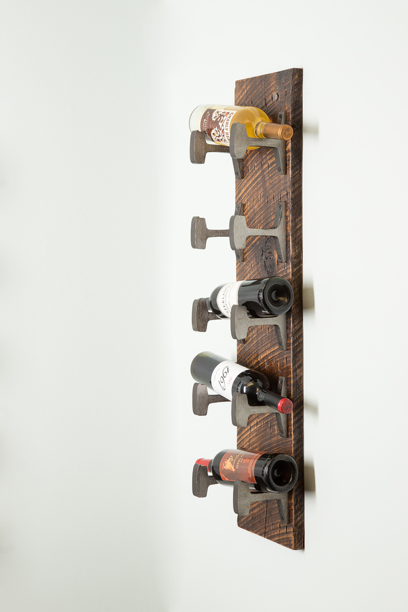 rustic hanging wine and spirits rack steel hooks salvaged reclaimed rough cut wood