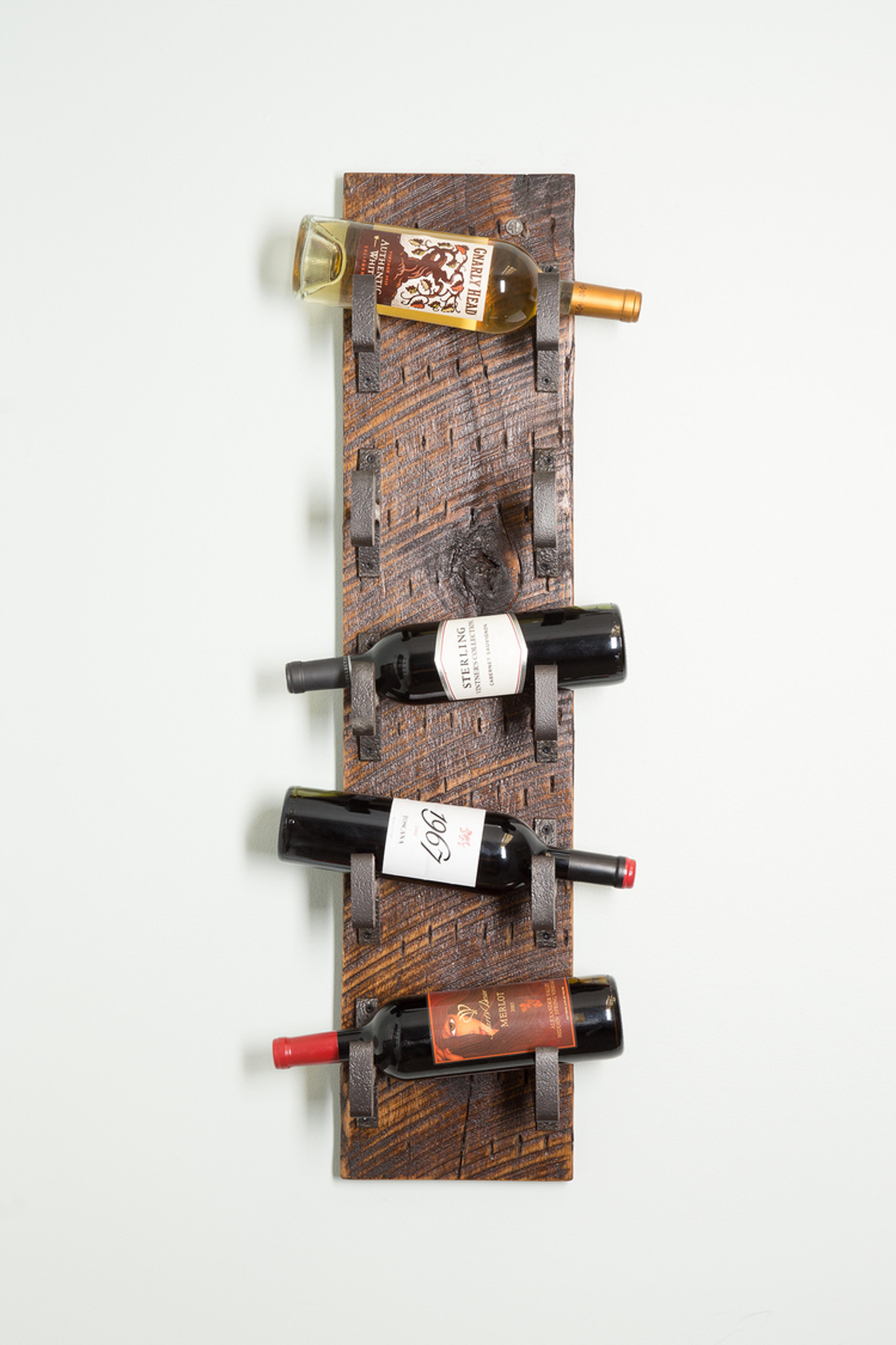 industrial style wine holder wall mounted rough grained with repurposed heavy duty steel hooks