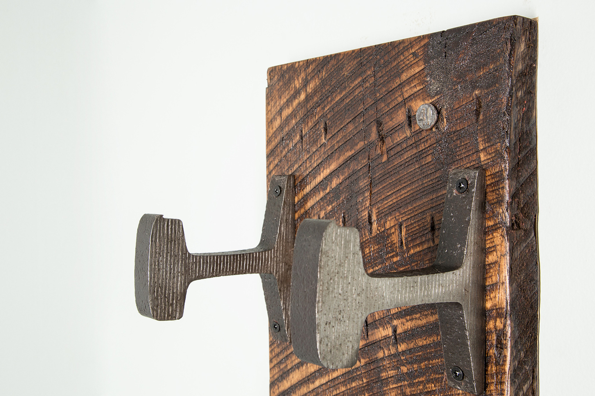 maker's mark coat rack steel hooks rough sawn wood