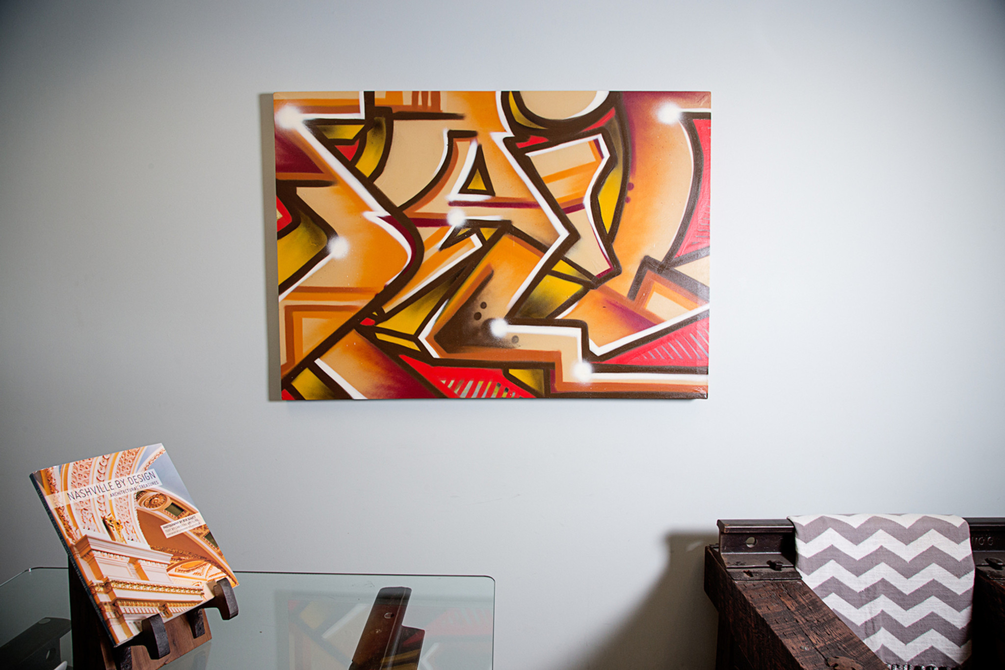 spray paint graffiti canvas wall hanging for indoor commercial residential or hospitality original art
