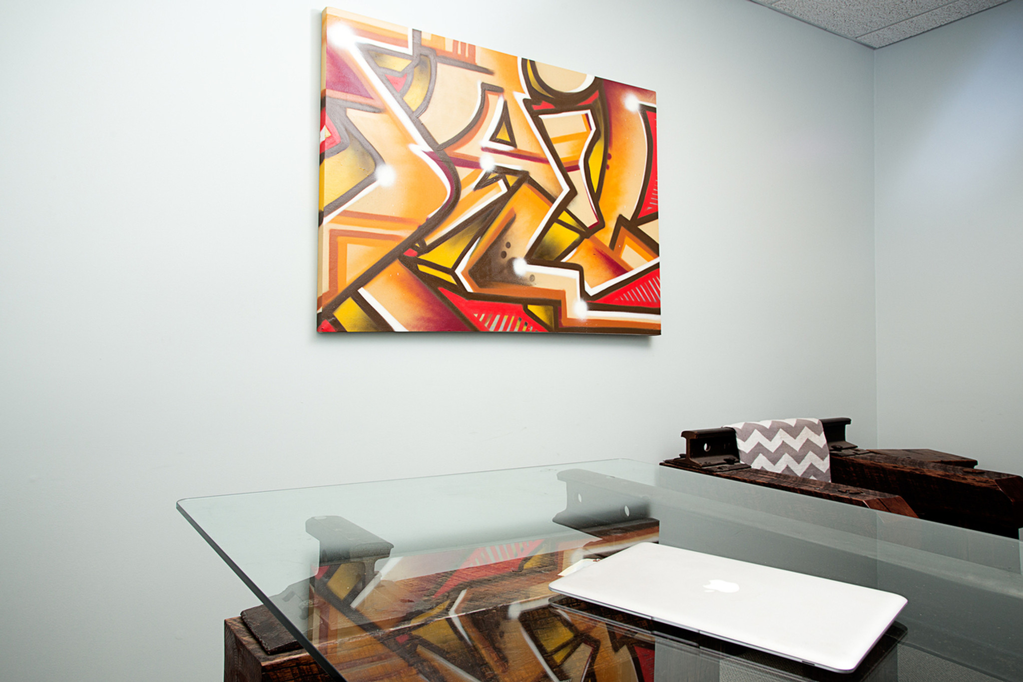 original urban art indoor graffiti wall hanging canvas in executive office one-of-a-kind artwork