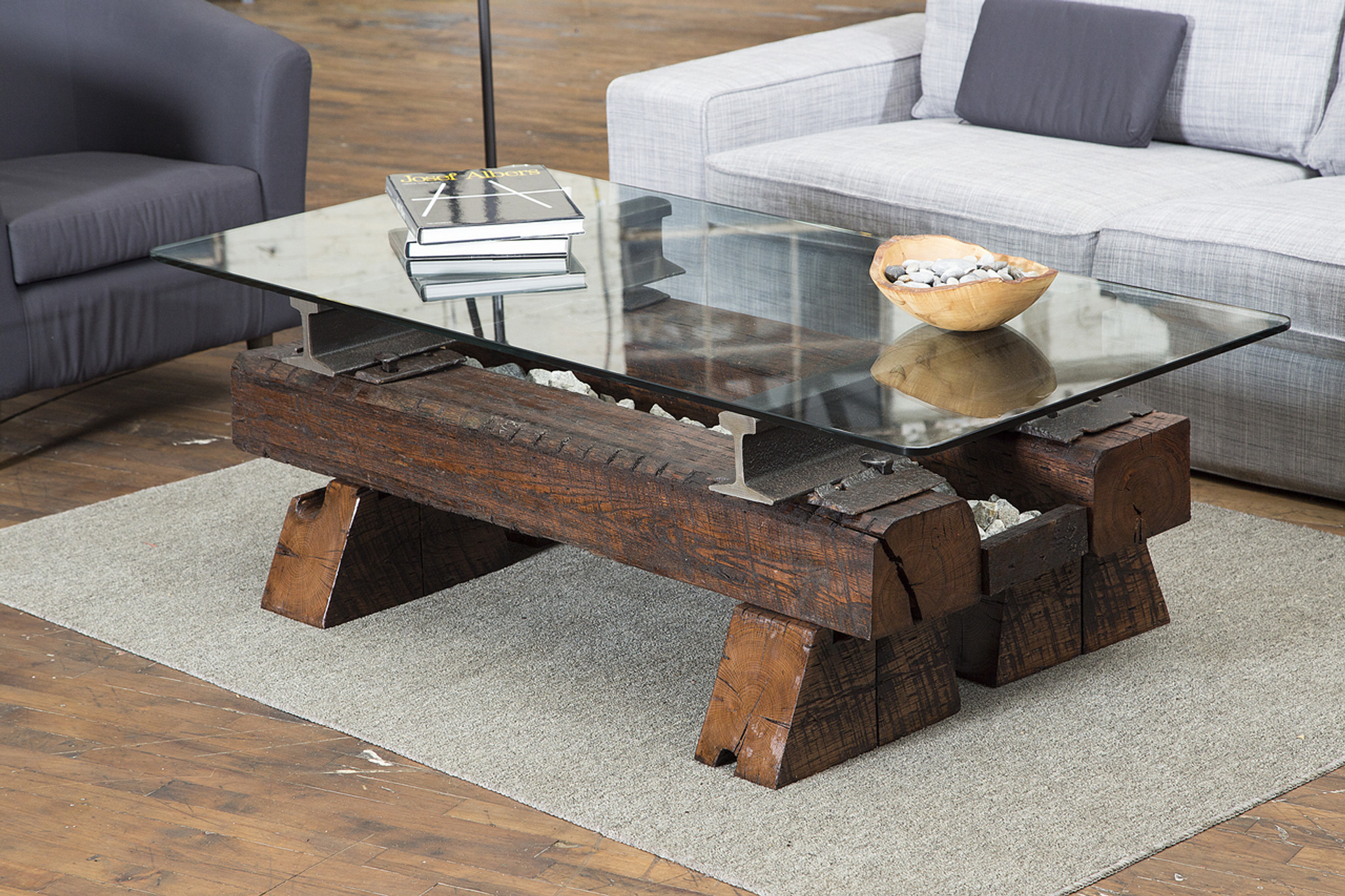 americana sofa table for modern interior styling with vintage iron hardware