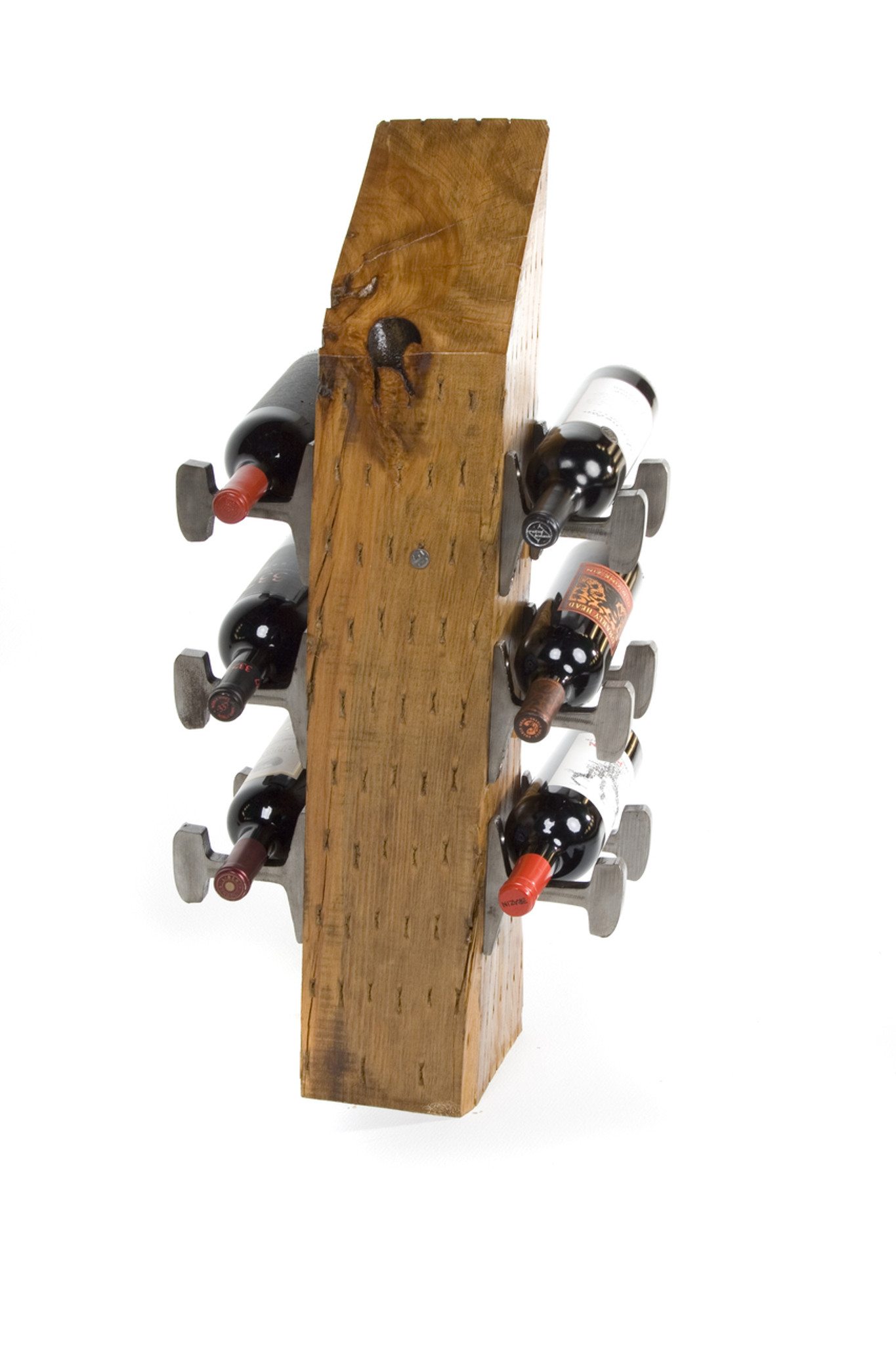 wine rack for half case from distressed cherry wood with knot in timber for urban loft