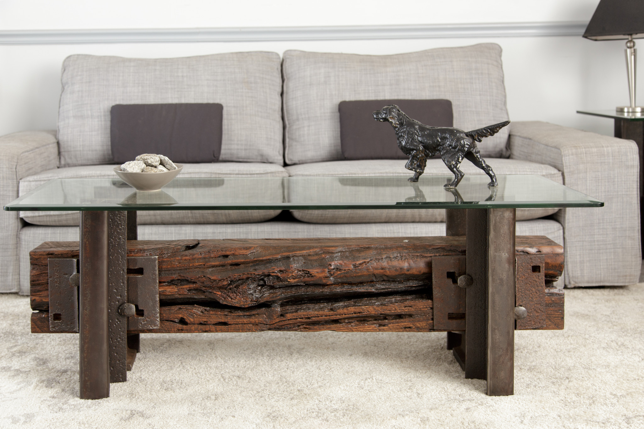Railroad-themed wood timber and steel coffee table