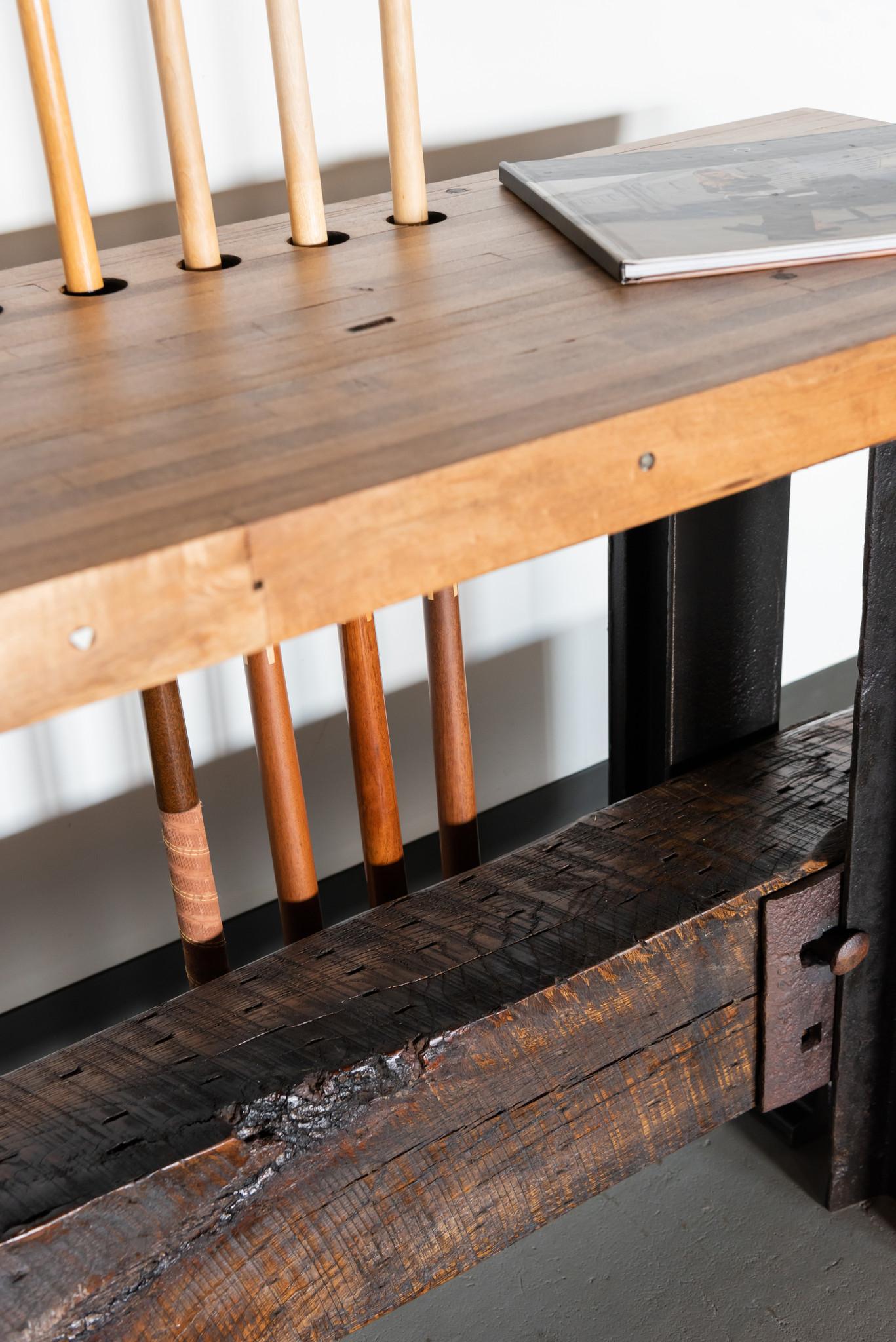 Interior designer heavy duty railroad style pool cue side table