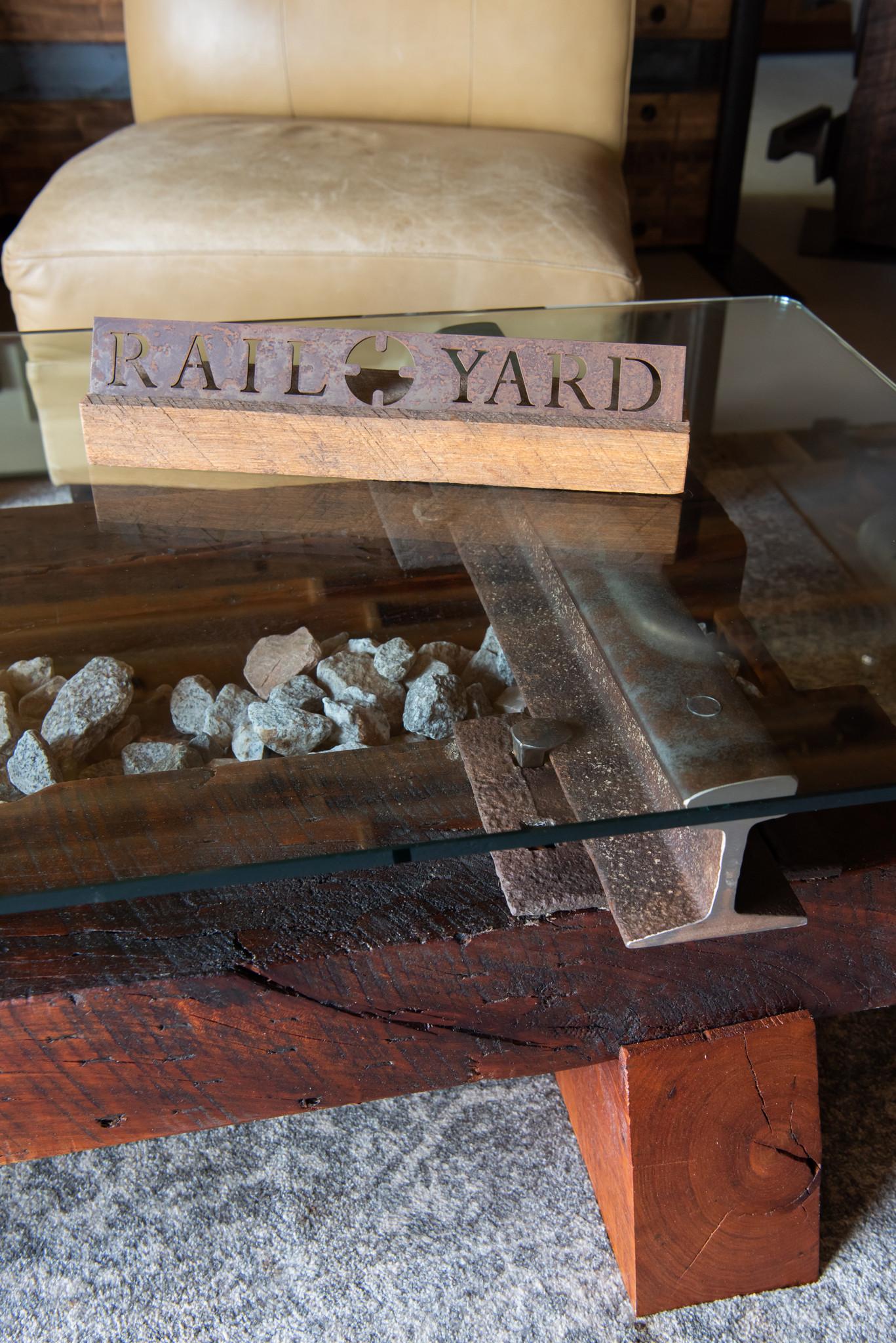 artisan rustic home historic timber vintage rail coffee table