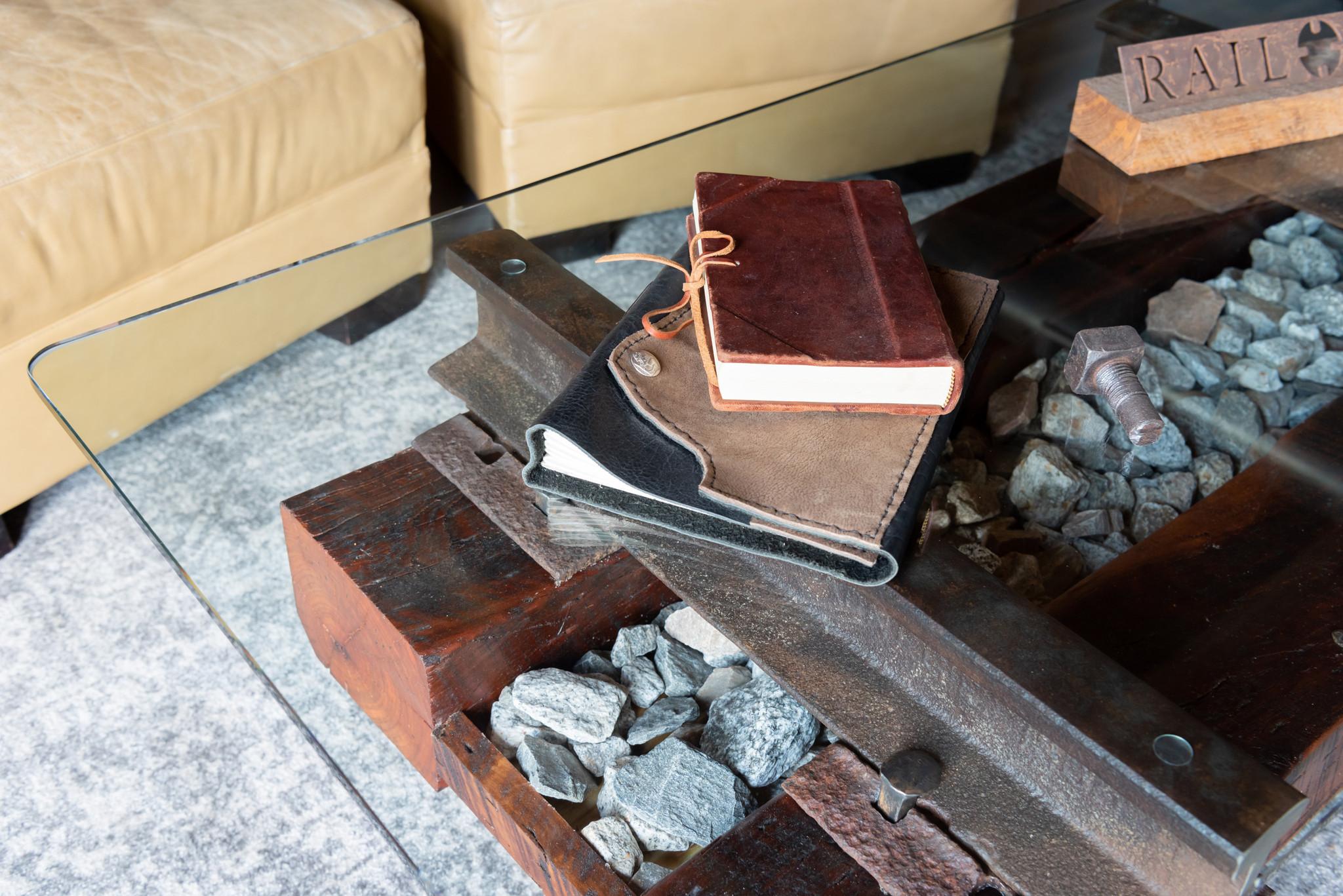 interior design unique authentic granite stone cherry wood and steel coffee table