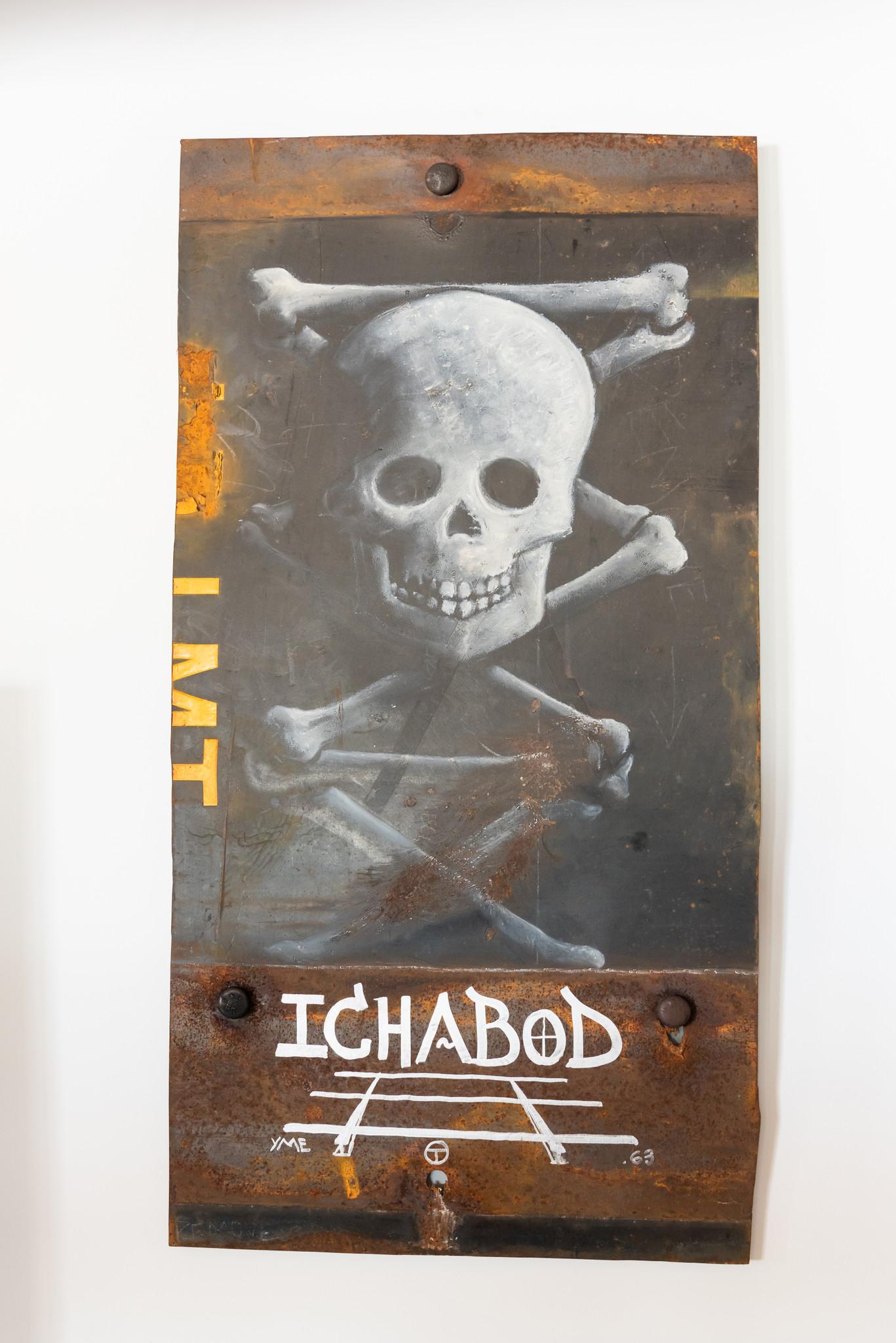 Urban rustic oil bar skull and bones train track graffiti