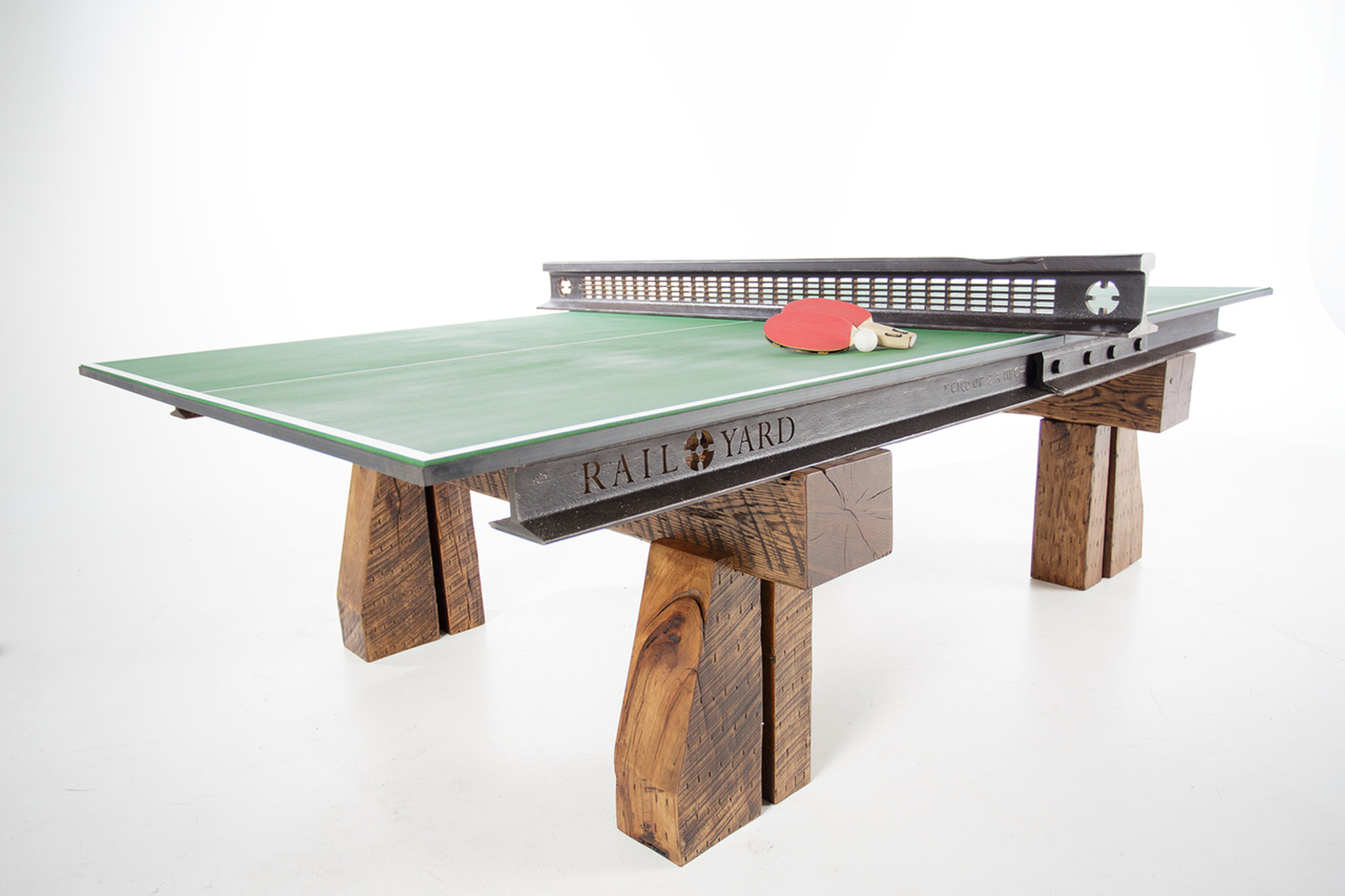 Custom industrial style Ping Pong Table from reclaimed steel railroad rail and hardwood timbers for luxury office or home