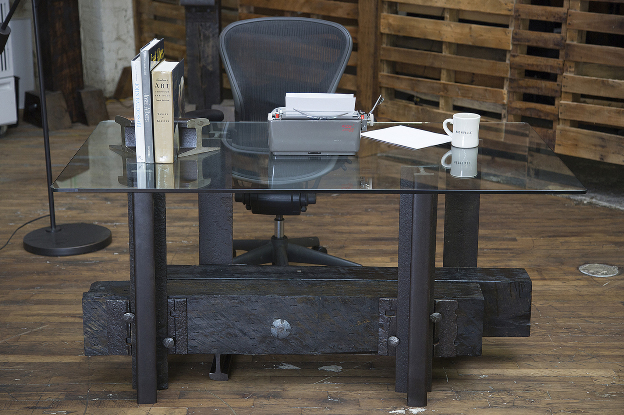 railroad americana desk in reclaimed warehouse