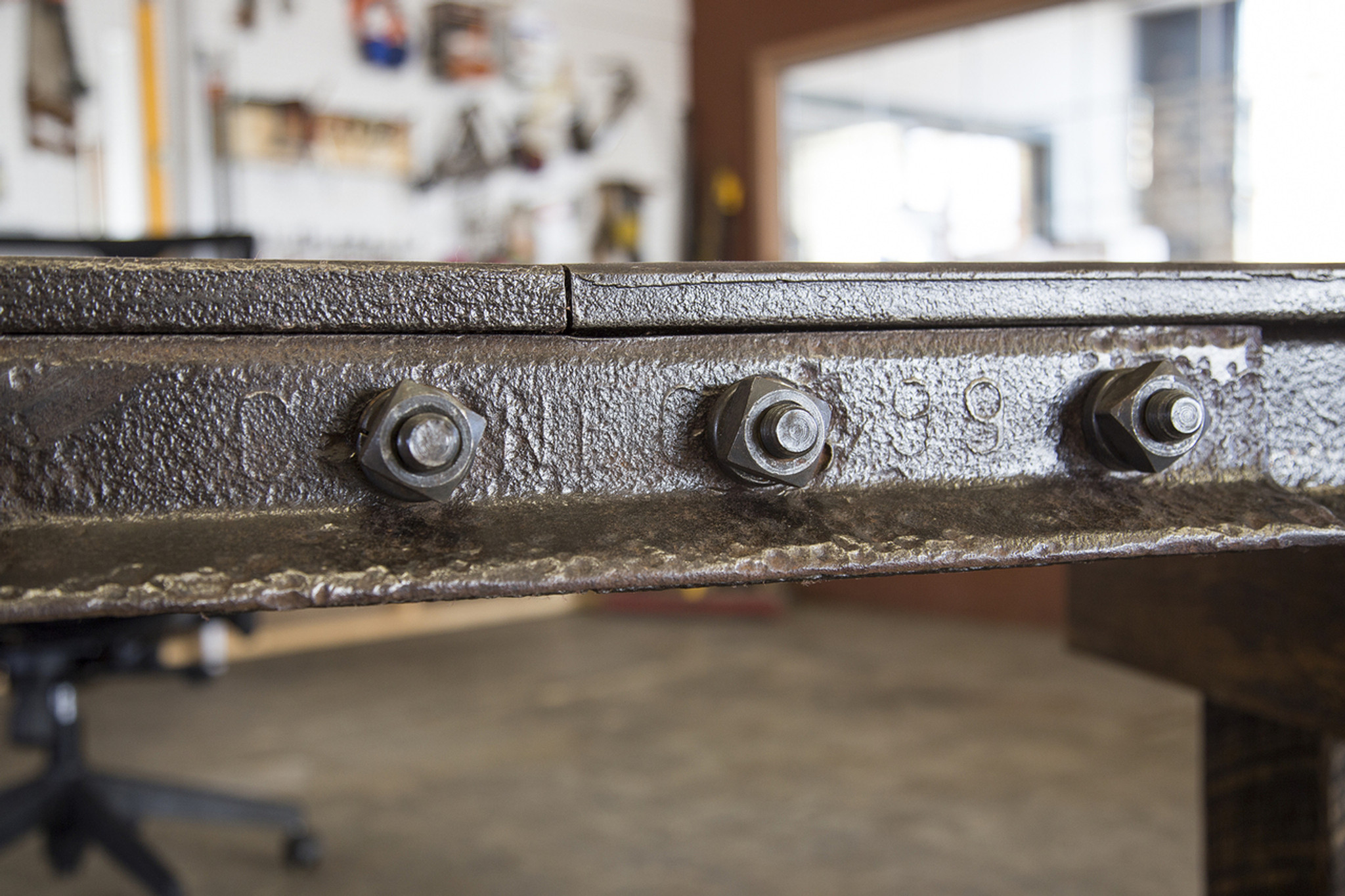 executive ceo desk from reclaimed industrial historical artifacts