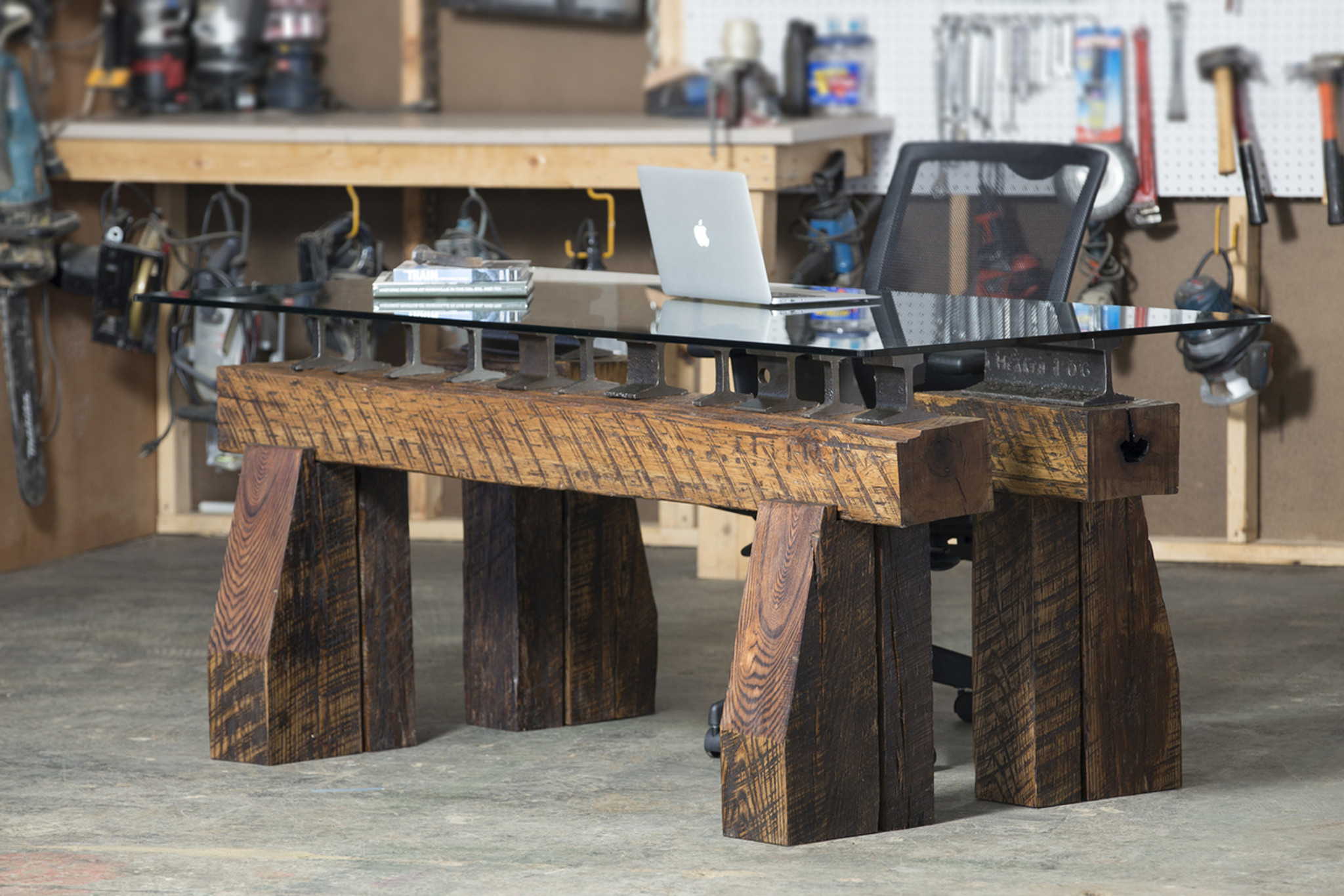 impressive oversized desk for modern industrial reclaimed style commercial office or residential home