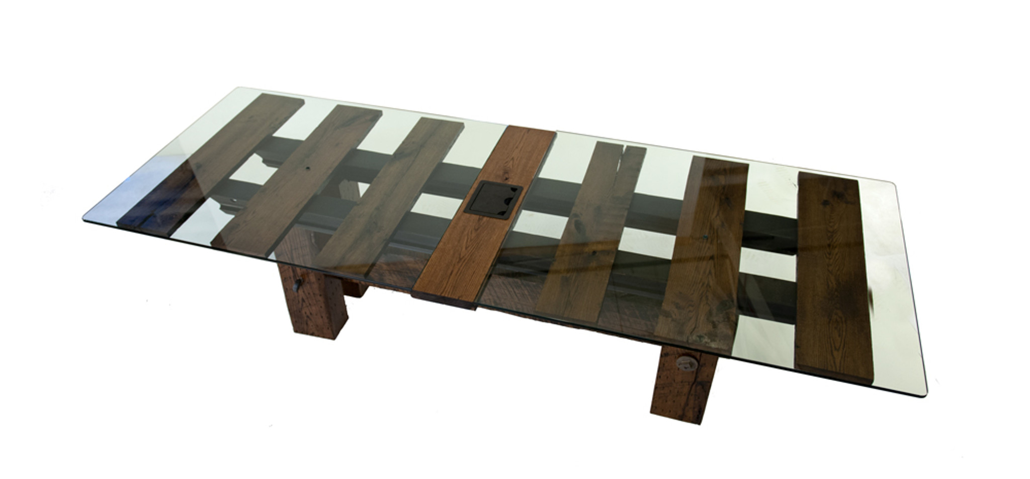 alternating glass wood conference table