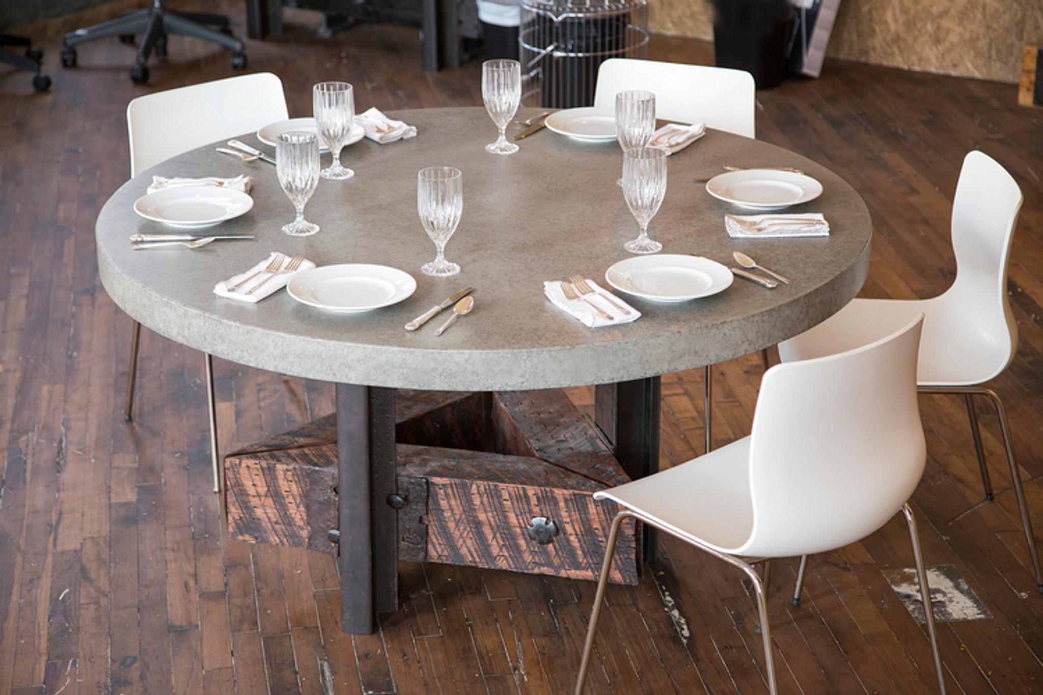 modern loft concrete steel wood dining table
