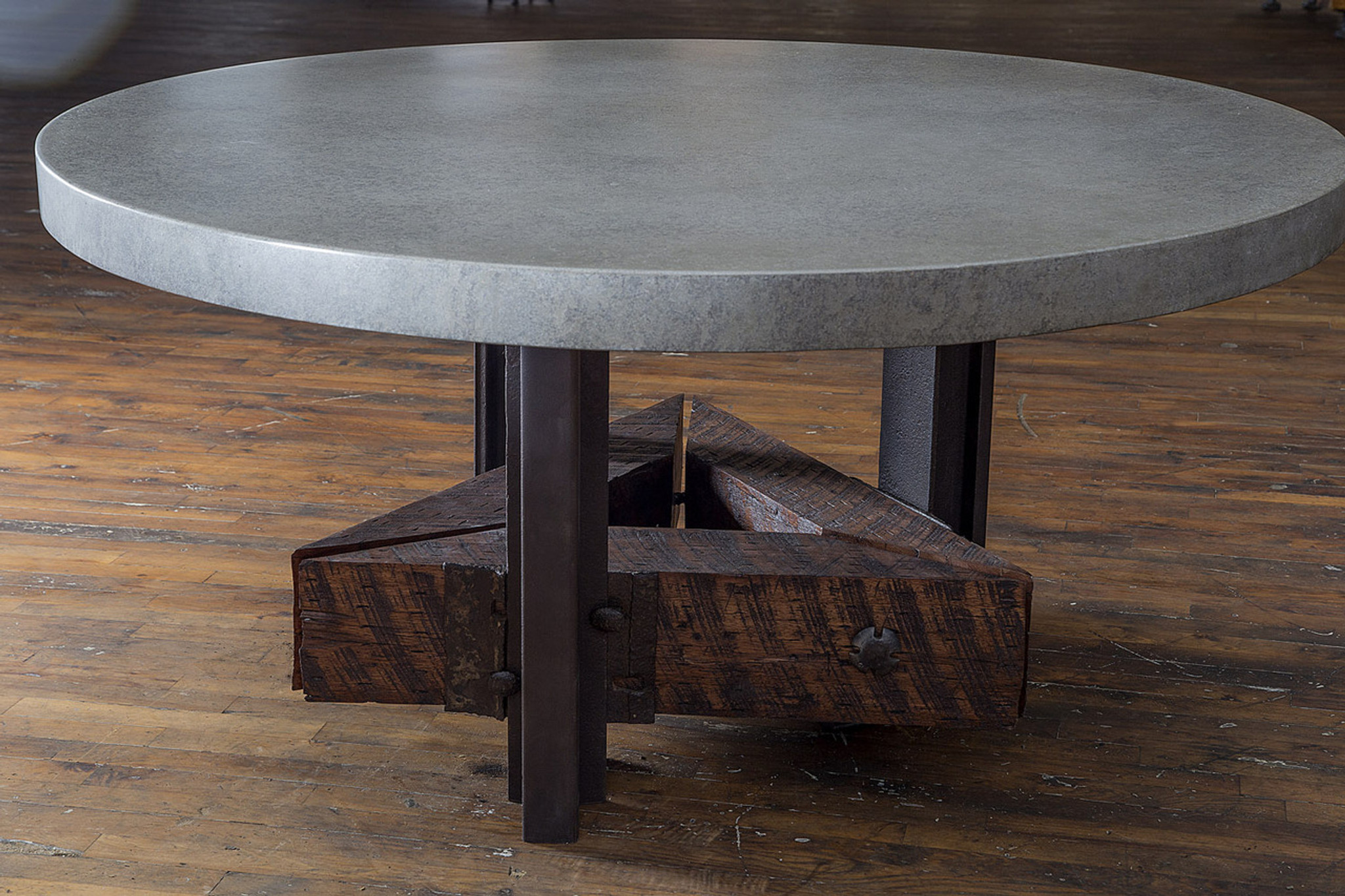 custom made reclaimed wood timber concrete steel dinner table
