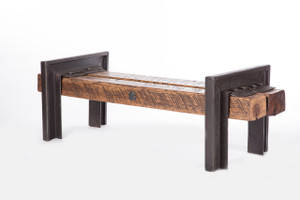 square oversized bench steel and hardwood timber