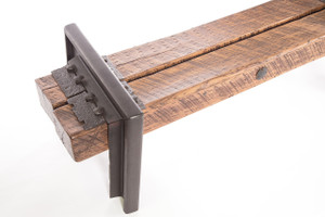 modern industrial style bench from timbers and dark patina steel rail