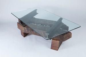 unique coffee table timber steel granite stone handcrafted by american artisan craftsmen