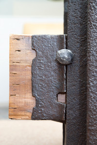 distressed steel industrial parts combined with salvaged wood timbers