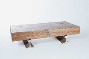 custom coffee table fabricated from industrial architectural elements