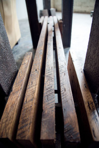 detailed custom table design from salvaged reclaimed hickory