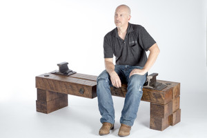 unique american artisan crafted wood timber bench with steel and iron accents