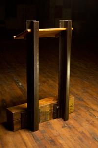 speaker lectern steel i-beams oak hardwood timbers