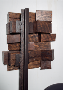 original artisan sculpture of hardwood and metal hanging wall mounted heirloom for home or office