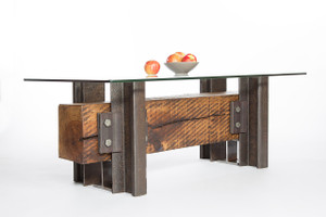 conversation piece coffee table from historic reclaimed steel and long wood timber