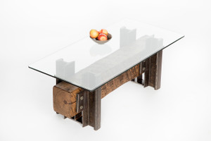 compact sofa table for modern reclaimed or renovated industrial warehouse space