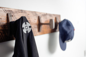 vintage style hat and coat rack from industrial age repurposed hardware steel and hardwood