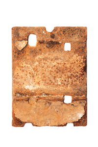 rough well-worn rusted railroad tie plate artifact fine art print archival paper silhouetted photograph on white background